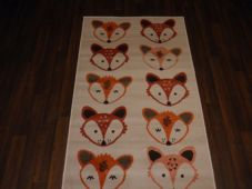 Modern Approx 4x2 60x110cm Woven Top Quality Fox Faces Creams/Terra Rugs/Mats